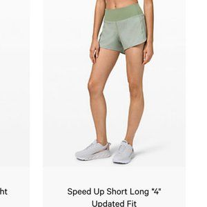 "LULULEMON Speed Up Short Long *4"" WILLOW GREEN"